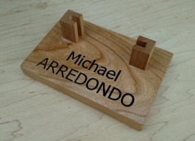 Engraved 18 - 005. Business Card Holder with V-carved personalization.