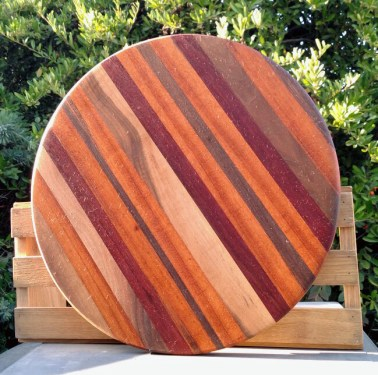 "Lazy Susan 18 - 14. Woods include Black Walnut, Goncalo Alves and Jarrah 18"" diameter."