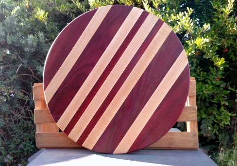 "Lazy Susan 18 - 19. Purpleheart, Hard Maple & Bloodwood. 18"" diameter."