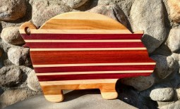 "Pig 18 - 610. Hard Maple, Cherry, Purpleheart & Bloodwood. 12"" x 20"" x 1-1/4""."