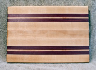 "Cutting Board 18 - 326. Hard Maple & Purpleheart. 12"" x 18"" x 1-1/4"". Edge Grain."