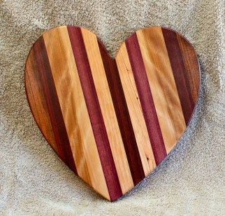 "Heart 18 - 927. Jatoba, Hard Maple, Purpleheart & Bloodwood. 11"" x 11"" x 3/4""."