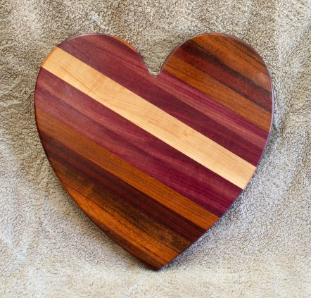 "Heart 18 - 932. Jatoba, Hard Maple, Purpleheart, Cherry & Bloodwood. 11"" x 11"" x 3/4""."