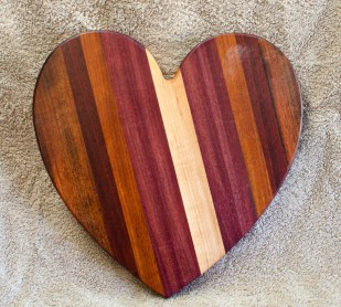 "Heart 18 - 933. Jatoba, Hard Maple, Purpleheart, Cherry & Bloodwood. 11"" x 11"" x 3/4""."