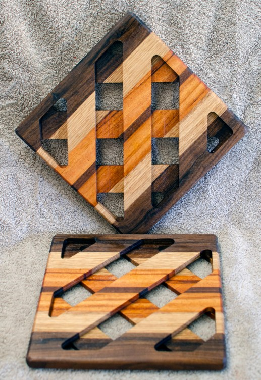 Trivet 18 - 733. Black Walnut, White Oak & Goncalo Alves.