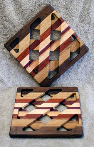 Trivet 18 - 734. Black Walnut, White Oak, Padauk & Hard Maple.