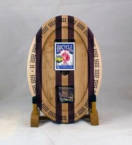 Cribbage 18 - 17. Hard Maple, Purpleheart. 3 track bottom.