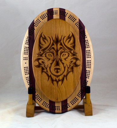 Cribbage 18 - 26. Wolf top for a 3 track board. Cherry.