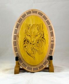 Cribbage 18 - 29. Cribbage top is a cat mandala. Yellowheart.