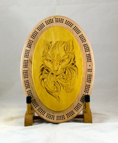 Cribbage 18 - 29. Cribbage top is a cat mandala. Yellowheart.