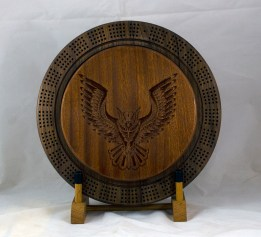 Cribbage 18 - 36. Sapele top for a 4 track board. Tribal Owl.