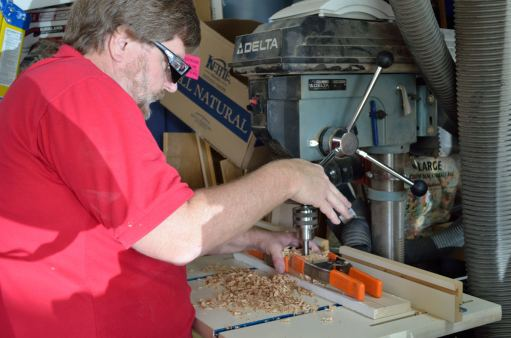 """The drill press is essential for drilling holes at a 90* angle to the stock; you can't match it with a handheld drill. In this case, I was using a 1-1/2"""" forstner bit, which couldn't be used in a handheld drill."""
