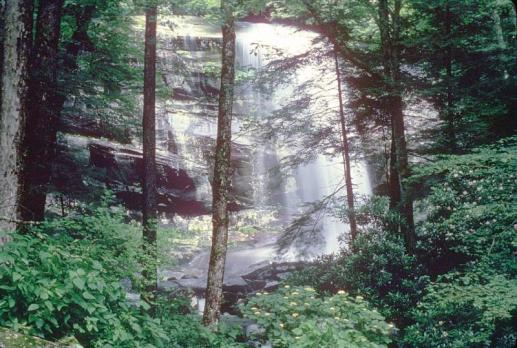 Rainbow Falls is 80' high. Mist from the falls produces a rainbow on sunny afternoons. From the National Park Service website.