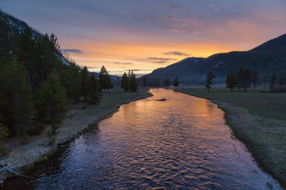 Spring sunset on the Madison River. Posted on Tumblr by the US Department of the Interior on 5/20/14.