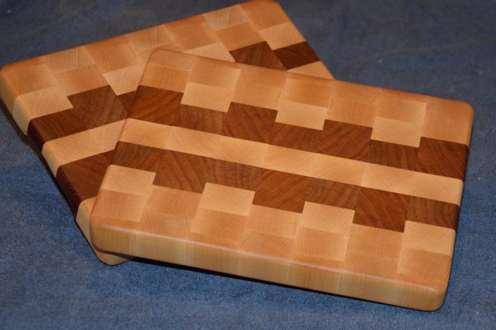 """Small Board # 15 - 010. Hard Maple & Cherry end grain. 8"""" x 11"""" x 1-1/8""""."""