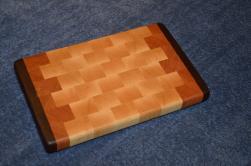 "Small Board # 15 - 033. Black Walnut, Cherry and Hard Maple end grain. 9"" x 11"" x 1""."