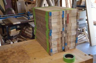 12 boards ... well, I made 13 ... ready for glue-up.