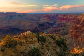 Sunset from one of the most beautiful places in the world: Grand Canyon National Park in Arizona. Grand Canyon overwhelms the senses through its immense size. Unique combinations of geologic color and erosional forms decorate a canyon that is 277 river miles long and up to 18 miles wide. Photo by Robert Shuman. Posted on Tumblr by the US Department of the Interior, 8/26/15.