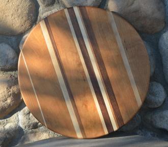 "Lazy Susan 15 - 012. A rare asymmetrical design. Cherry, Hard Maple & Black Walnut. 17"" diameter."