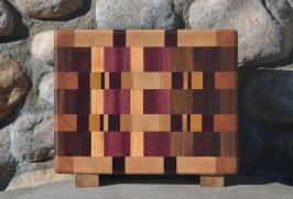 """Small Board # 15 - 046. Hard Maple, Cherry, Purpleheart, Yellowheart, Jatoba & Honey Locust. Edge Grain. 9"""" x 11-1/2"""" x 1-1/2""""."""