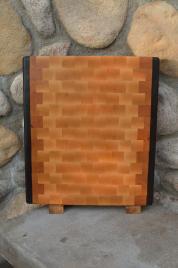 """Cutting Board # 15 - 079. Black Walnut, Cherry & Hard Maple. End Grain. 13"""" x 17"""" x 1-1/4""""."""