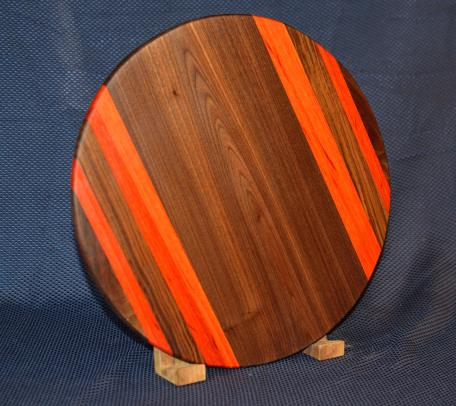 """Lazy Susan # 15 - 037. Black Walnut & Padauk. 17"""" diameter x 3/4"""". Please note that the Padauk will transition from this bright orange to a more warm brown color with UV exposure."""