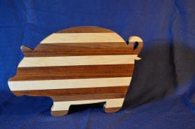 "Pig # 15 - 10. Hard Maple, Jatoba & Black Walnut. 19"" x 12"" x 1-1/8""."