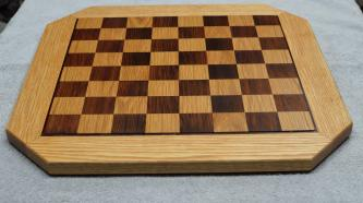 """Chess Board # 15 - 10. White Oak, Bloodwood & repurposed, 200-year-old Redwood. Commissioned piece. 20"""" x 20"""" x 3/4""""."""