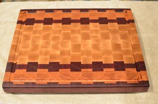 """Cutting Board # 15 - 087. Purpleheart, Honey Locust & Hard Maple. End Grain with Juice Groove. 16"""" x 20"""" x 1-1/2"""". Sold out of the shop before it was finished!"""