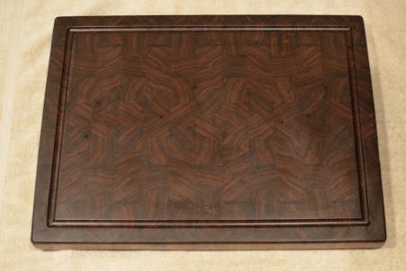 "Cutting Board # 15 - 089. Black Walnut. End Grain with Juice Groove. 16"" x 21"" x 1-1/2""."