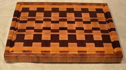 "Cutting Board # 15 - 090. Cherry, Yellowheart, Hard Maple, Padauk & Jatoba. End Grain with Juice Groove. 16"" x 20"" x 1-1/2""."