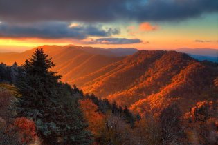 Sunrise in the Great Smoky Mountains National Park. Photo by Santosh Kanthety. Tweeted by the US Department of the Interior, 12/6/15.