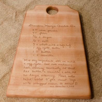 "Recipe Board 15 - 01. Hard Maple. 8"" x 12"" x 3/4""."