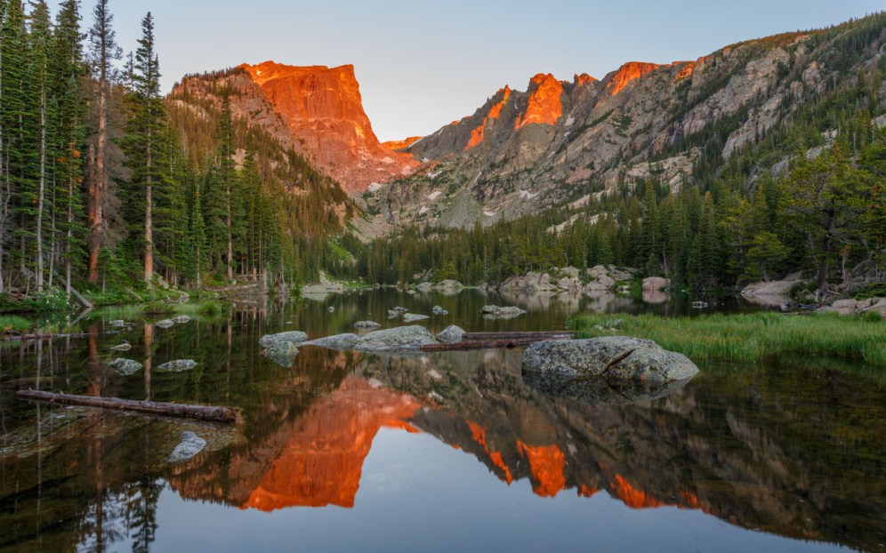 Rocky Mountain National Park was founded in 1915. Photo from Dream Lake by Malcolm Boshier. Posted on Tumblr by the US Department of the Interior, 1/26/16.