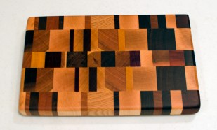 "Small Board 16 - 003. Hard Maple, Black Walnut, Cherry, Hickory, Padauk & Jatoba. End grain. 6"" x 10"" x 1""."