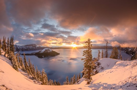 Sunrise over Oregon's Crater Lake National Park. Photo by Greg Nyquist. Tweeted by the US Department of the Interior, 2/17/16.