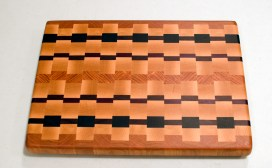 "Cutting Board 16 - End 009. Cherry, Hard Maple, Padauk, Purpleheart & Honey Locust. End grain. 12"" x 16"" x 1-1/4""."