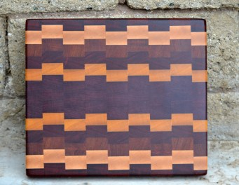 "Cutting Board 16 - End 013. Hard Maple, Padauk, Jatoba, Purpleheart & Yellowheart. End Grain. 10"" x 12"" x 1-1/4""."