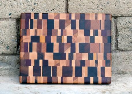 "Cutting Board 16 - End 015. Chaos Board. Cherry, Black Walnut, Purpleheart, Yellowheart, Jatoba, Padauk & Honey Locust. End Grain. 11"" x 14"" x 1-1/4""."