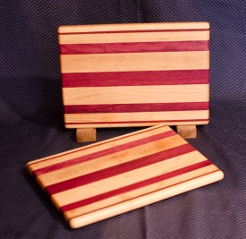 "Cheese Board 16 - 004. Edge Grain. Hard Maple & Purpleheart. 8"" x 11"" x 3/4""."