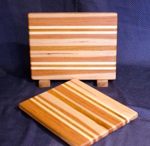 "Cheese Board 16 - 005. Edge Grain. Hickory, Hard Maple & Teak. 8"" x 11"" x 3/4""."