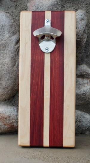 """Magic Bottle Opener 16 - 06. Bloodwood & Hard Maple. Approximately 5"""" x 11"""" x 3/4""""."""