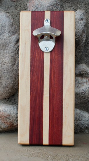 "Magic Bottle Opener 16 - 06. Bloodwood & Hard Maple. Approximately 5"" x 11"" x 3/4""."