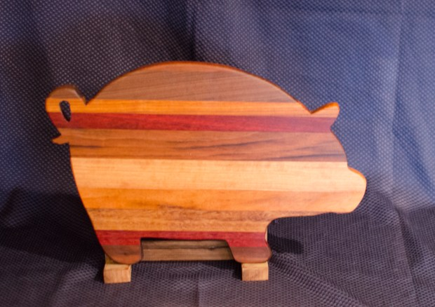 "Pig 16 - 01. Black Walnut, Goncalo Alves, Jatoba, Padauk & Cherry. 12"" x 19"" x 3/4""."