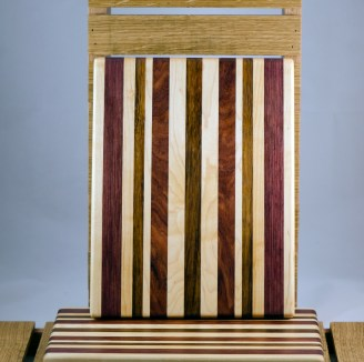 "Cheese Board 16 - 018. Hard Maple, Purpleheart, Jatoba & Bloodwood. 9"" x 11"" x 3/4""."