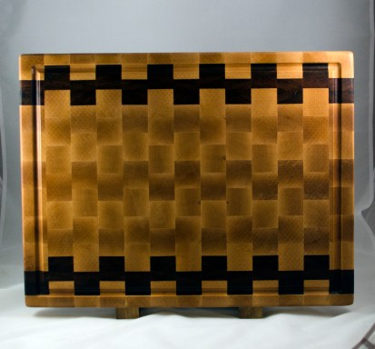 "Cutting Board 16 - End 035. Hard Maple & Jatoba. End Grain, Juice Groove. 16"" x 21-1/2"" x 1-1/2"". $275."