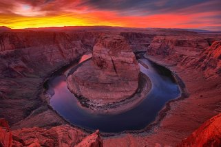 The sun sets over Arizona's Horseshoe Bend. Photo by Adam Jewell. Tweeted by the US Department of the Interior, 6/17/16.