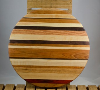 "Lazy Susan 16 - 017. Hard Maple, Cherry, Honey Locust, Padauk & Black Walnut. Chaos board. 17"" diameter."