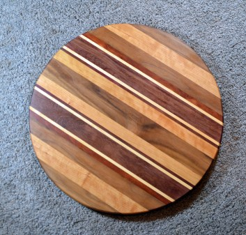 "Lazy Susan 16 - 022. Black Walnut, Cherry, Purpleheart & Hard Maple. 17"" diameter. Commissioned piece."