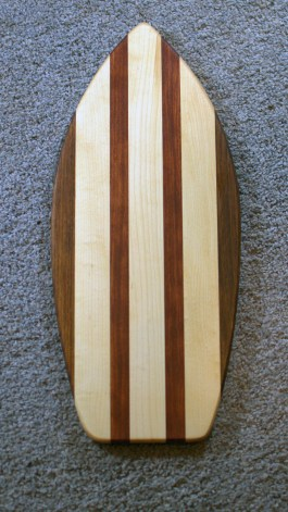 "Medium Surfboard 16 - 05. Black Walnut, Jatoba & Hard Maple. 8"" x 20"" x 3/4""."